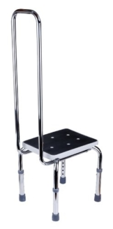GAH-Alberts 140779 Fußbank mit Sicherheitsgriff – höhenverstellbar, verchromter Stahl, 420 x 330 mm, Grifflänge: 730 mm