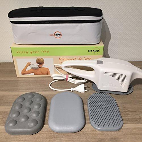 Maspo Vibramat de Luxe Großflächenmassagegerät Massagegerät Inklusive 3 Massageaufsätzen Transporttasche