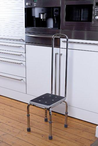 GAH-Alberts 140779 Fußbank mit Sicherheitsgriff – höhenverstellbar, verchromter Stahl, 420 x 330 mm, Grifflänge: 730 mm -