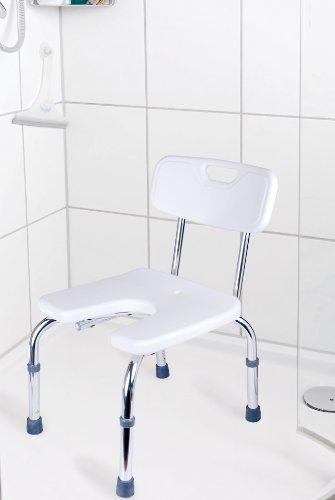 GAH-Alberts 140830 Duschstuhl – U-Form, höhenverstellbar, Kunststoff, weiß, 400 x 380 mm -