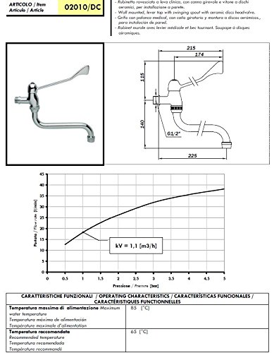 Hygiene Kaltwasser Wand-Armatur mit langem Hebel zur Ellbogen-Bedienung und schwenkbarem Auslauf -